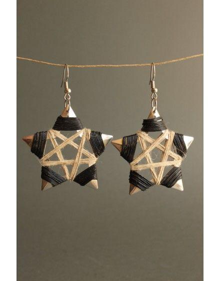 Pentagram Wiccan Woven Earrings