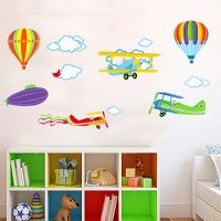 Planes and Hot Air Balloons decal. Wall stickers are available at www.kidzdecor.co.za. Free postage throughout South Africa