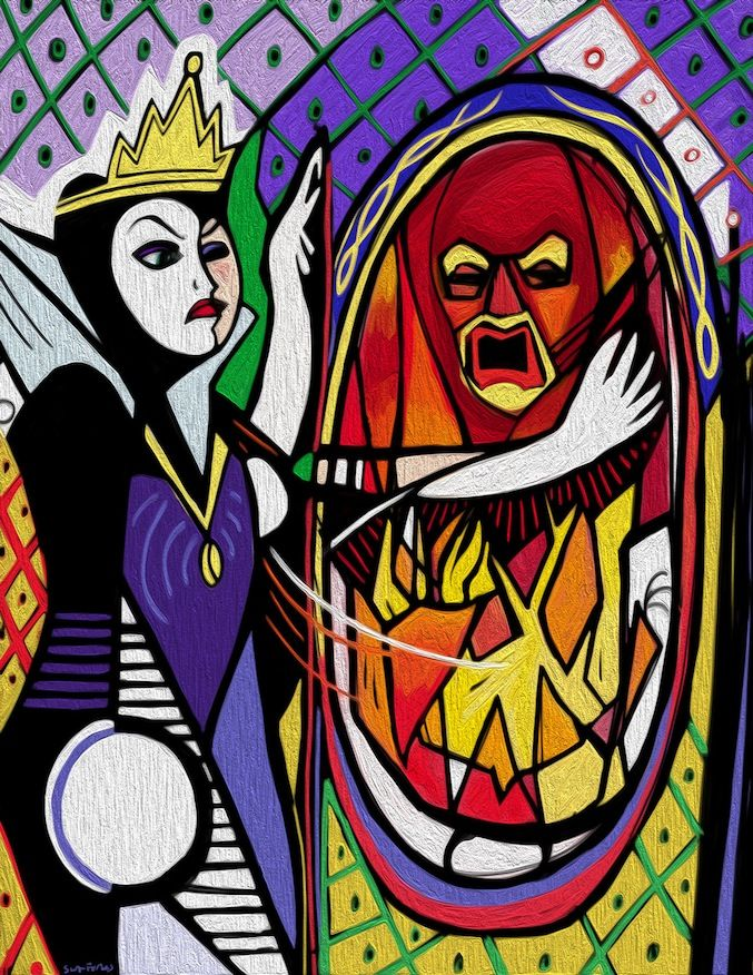 Disney Mousterpieces Picasso inspired Snow White's Evil Queen with the Mirror on the wall