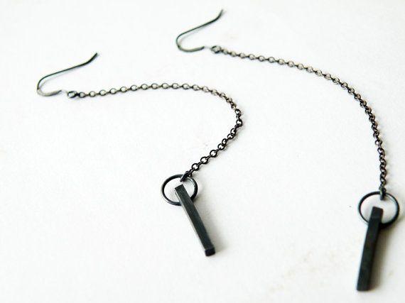 Zwart geoxideerd zilver bengelen oorbellen lange keten moderne