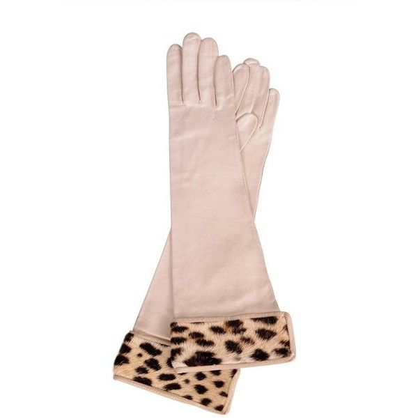 Preowned Leopard & Leather Gloves ($350) ❤ liked on Polyvore featuring accessories, gloves, beige, beige gloves, polka dot gloves, leopard gloves, real leather gloves and leopard print gloves