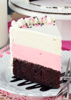 This Neapolitan Ice Cream Cake is a tasty combination of chocolate cake and strawberry and vanilla ice cream. It's reminiscent of the neapolitan ice cream sandwiches I ate as a kid and I didn't want to stop eating it.