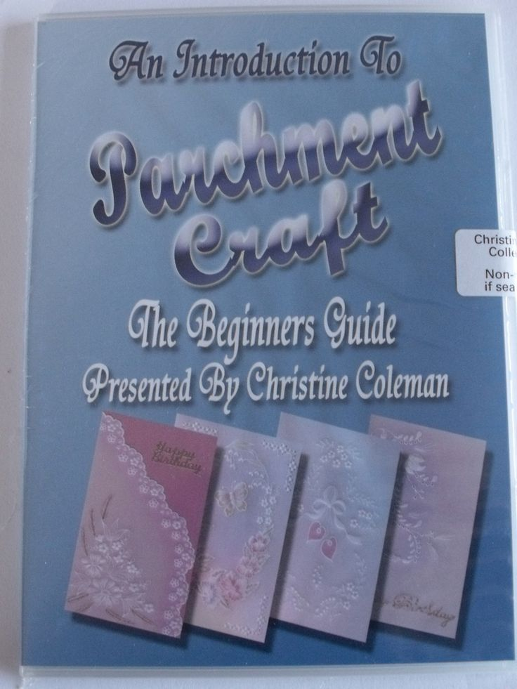 AN INTRODUCTION TO PARCHMENT CRAFT - THE BEGINNERS GUIDE DVD BY CHRISTINE COLEMAN    An Introduction to Parchment Craft presented by Christine Coleman.  Everything you need to know to get you started whilst creating 4 beautiful cards designed by Christine. The DVD starts with very basic techniques such as how to attach the parchment to the pattern and how to trace with a mapping pen. She covers basic embossing with ball tools and colouring the parchment with oil pastels.