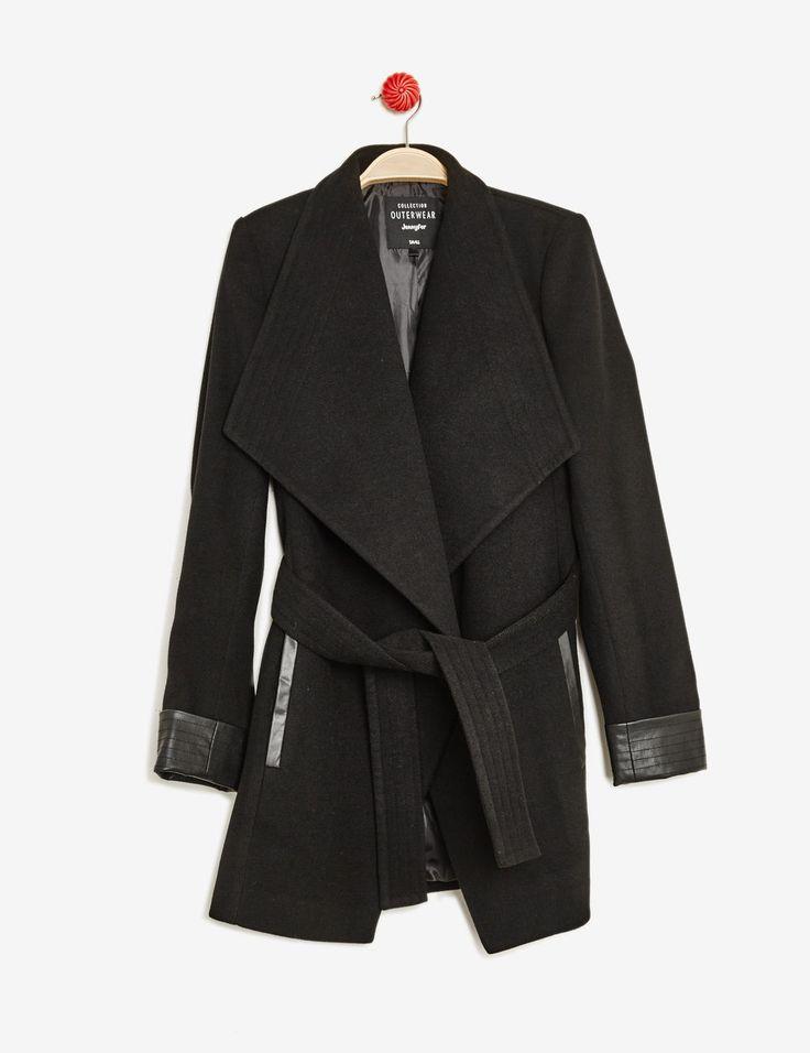 Manteau détail simili cuir noir femme • Jennyfer