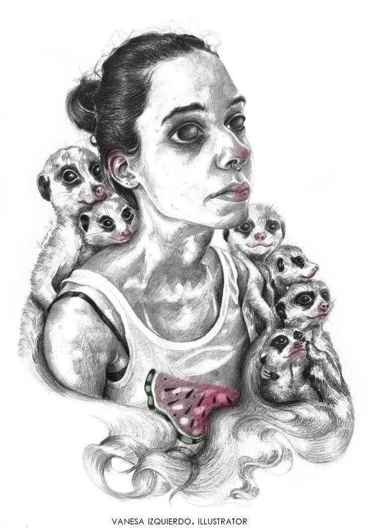 SuriMarta. Meerkats and watermelon ^.^.  Available on http://vanesaizquierdo.wix.com/vanesaizquierdo #meerkat #suricato #portrait #blackandwhite #girl #animals #realism #watermelon
