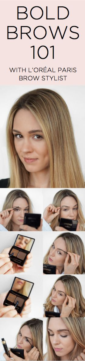 How to get bold, natural-looking brows: 1. With Brow Stylist Prep & Shape Pro Kit, use the spoolie brush to comb brows out and upward. 2. Tweeze any stray hairs using mini tweezers. 3. Dip the angled brush into soft wax on the left; create desired brow shape using angled strokes. 4. Use same brush to apply the setting powder on the right, filling in gaps. 5. Finish and set with Transparent Brow Stylist Plumper gel.