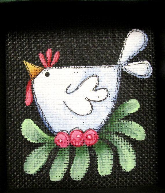 Folk Art Chicken sitting on Pink Flowers, Small Framed Art, Folk Art Chicken, Black Fiberglass Screen, Hand Crafted Frame and Hand Painted