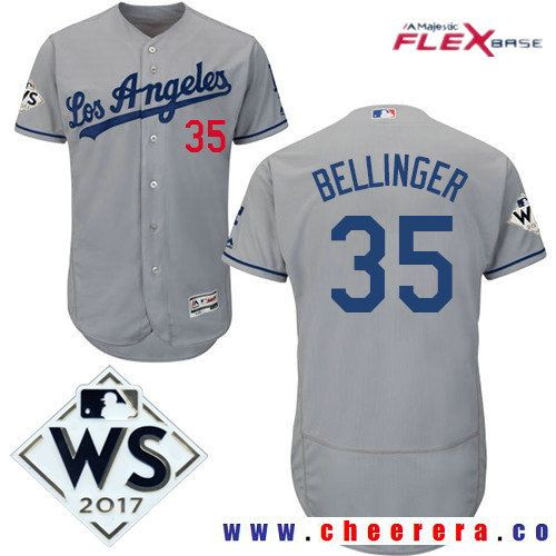 ... Jersey Mens Los Angeles Dodgers 35 Cody Bellinger Gray Road 2017 World  Series Patch Majestic Flex ... 67fa6dc70