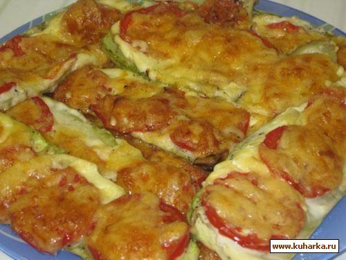 Рецепт: Кабачки запечённые с помидорами