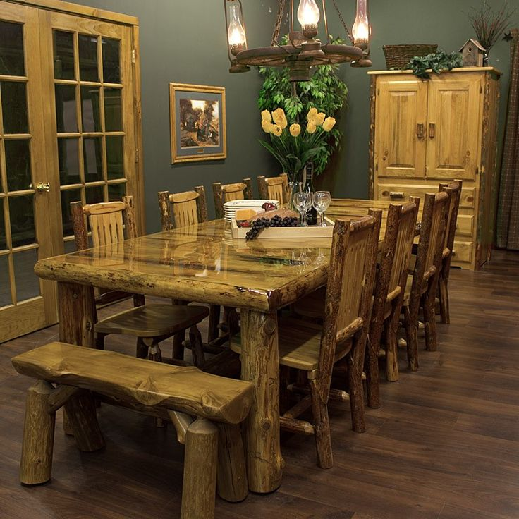 Cedar Lake Lodge Log Dining Table   JHEu0027s Log Furniture Place
