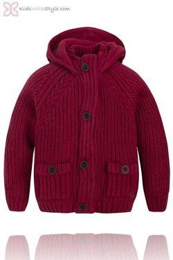 Boys Burgundy Cardigan with Hood #boyssweaters #boysfashion #boysfallfashion #boyswinterfashion #boyshoodedjacket #boysjacket