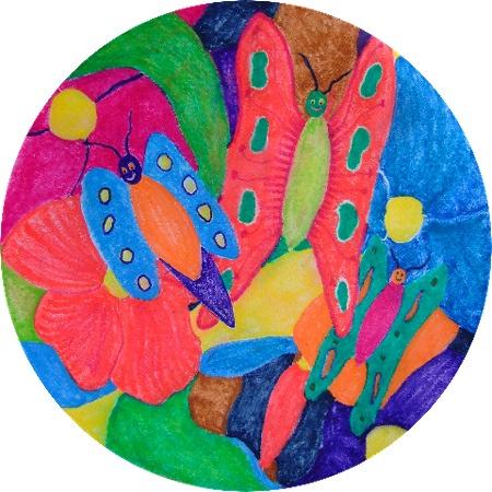Inktense kleurpotloden, eigen ontwerp.