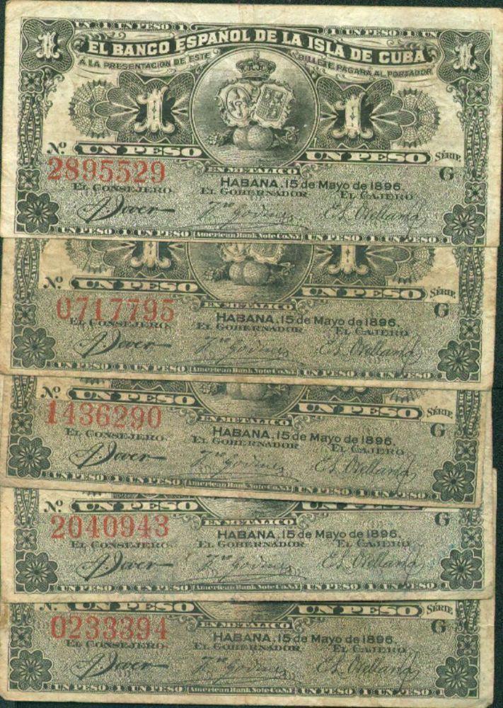 SPAIN COLONIAL LOT 5x 1 PESOS 1896. F-VF CONDITION. ORIGINAL. RARE. 2DG 03SEP4b http://united-kingdom-guide.info/dk/ge/?query=191722871234 …
