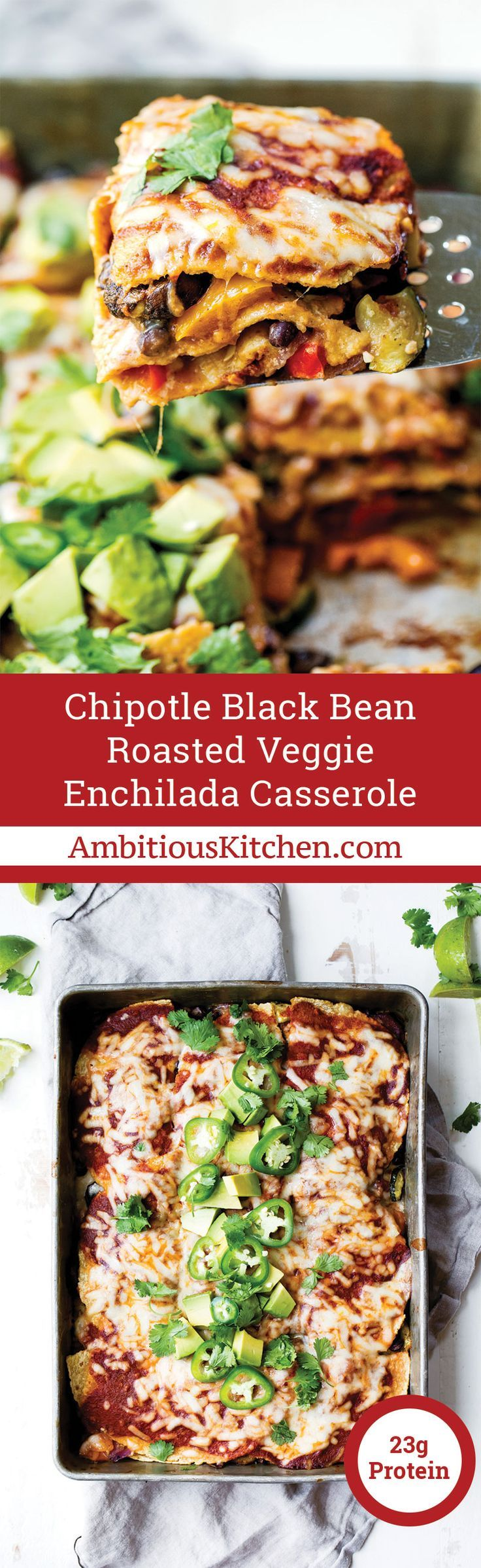 Layers upon layers of veggies snuggled between black beans, corn tortillas, a homemade chipotle enchilada sauce and cheese. The best and easiest vegetarian enchiladas!