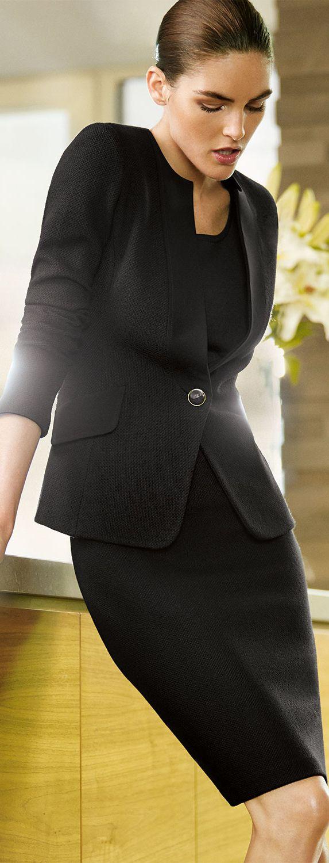 Boucle Knit Jacket, pencil skirt, sleek bun