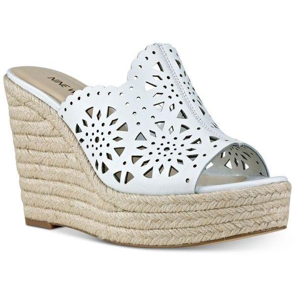 Nine West Derek Espadrille Platform Wedge Sandals ($99) ❤ liked on Polyvore featuring shoes, sandals, white, white wedge shoes, wedge heel sandals, platform wedge sandals, white espadrilles and wedge sandals