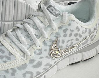 e24646137d7d18 Nike Free Run 5.0 V4 Shoes - White   Wolf Grey   Metallic Silver - Leopard  Cheetah Design - Bedazzled with Swarovski Elements Crystals
