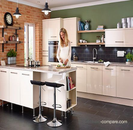 17 best images about contemporary cream gloss kitchens on for Kitchens b q cooke and lewis