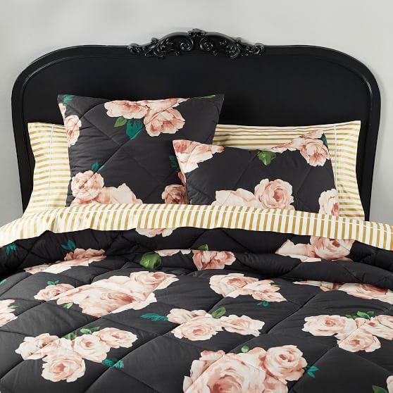 The Emily Amp Meritt Bed Of Roses Comforter Sham Black Blush