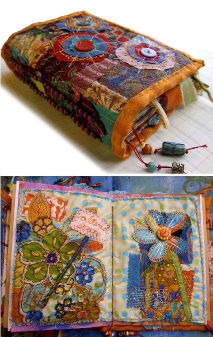 hand-made journal.  Site has freebie patterns-embroidery, ornaments, tatting (if you tat, there is a beautiful tatted heart w/ instructions.)Needle Book, Fabric Journals, Ro Bruhn, Fabrics Book, Art Journals, Fabrics Journals, Fabric Books, Fiber Art, Handmade Journals