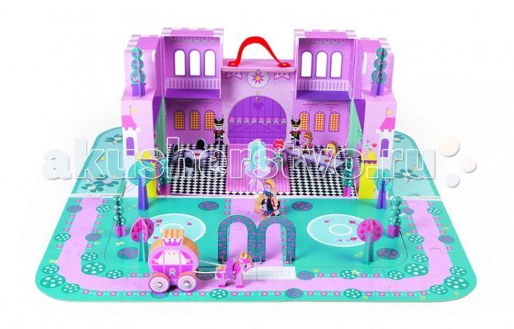 Конструктор Janod Замок принцессы с 28 аксессуарами  Конструктор Janod Замок принцессы с 28 аксессуарами - состоит из разнотипных заданий, которые в итоге помогут малышке сформировать свое королевство. Конструкция включает в себя 16 крупных пазлов, которые оформляют террасу и пруд, 3 фигурки принцесс, 1 принца, а также дополнительных элементов в виде кареты, столиков, стульев, деревьев и самого замка.  В наборе: 3 принцессы, 1 карета, 2 лошади, 1 принц, 4 дерева, 6 кустов, 1 фонтан, 1…