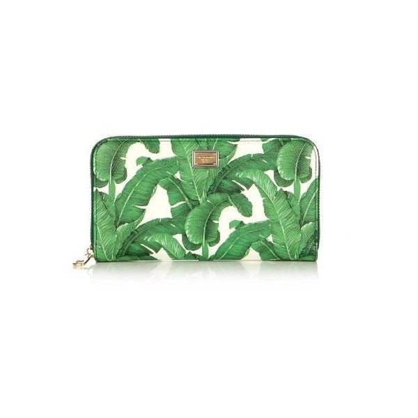 Dolce & Gabbana Banana leaf-print zip-around leather wallet (745 AUD) ❤ liked on Polyvore featuring bags, wallets, green white, green leather bag, dolce gabbana wallet, leather bags, leather wallets and real leather bags