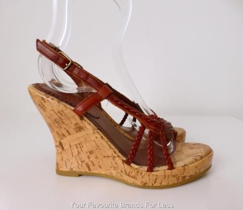 Akiel-Shoes-Wedges-Size-6-Brown-Leather