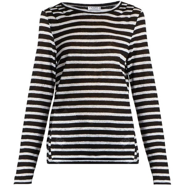 Frame Striped linen T-shirt (8.440 RUB) ❤ liked on Polyvore featuring tops, t-shirts, blue white, linen t shirt, stripe t shirt, striped top, striped tee and lightweight t shirts