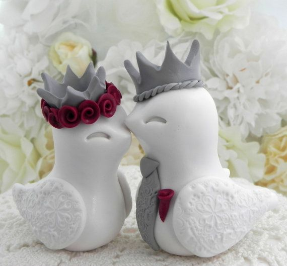 King & Queen Love Birds Royal Wedding Cake Topper by LavaGifts