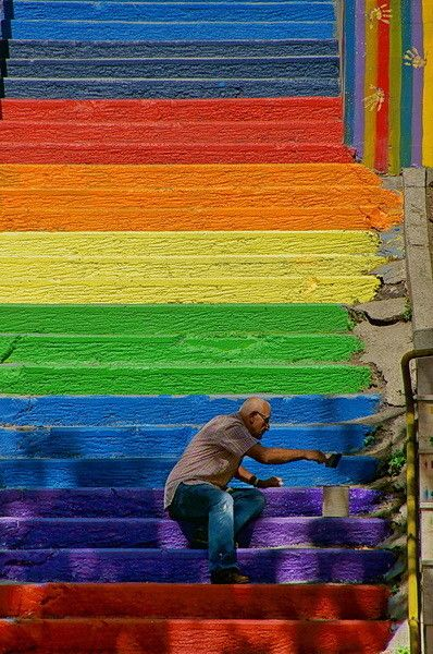 Rainbow Stairs - Istanbul, Turkey during Gezi Parc occupy painted by a local man to share happiness