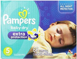 Pampers Baby Dry Extra Protection Diapers Size 5 Super Pack 66 Count (Packaging May Vary) $24.99