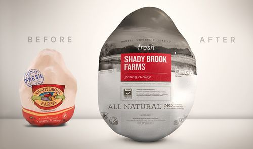 New #plastic #packaging for Shady Brook Farms Fresh Turkey emphasizes the independent family farms where turkeys are raised with care.