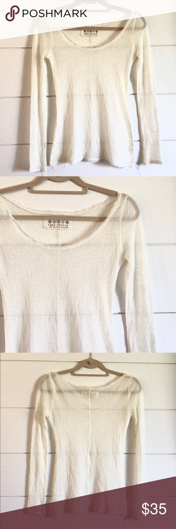 Free People Cream Long Sleeve Top Free People cream colored long sleeve shirt in some sort of organic looking sheer stretchy material. It also has a kind of frayed unfinished edge along the hems. Beautiful shirt and great condition. Size small Free People Tops Tees - Long Sleeve