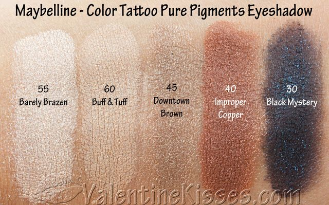 Valentine Kisses: Maybelline Color Tattoo Pure Pigments Eyeshadow - 5 shades - pics, swatches, review