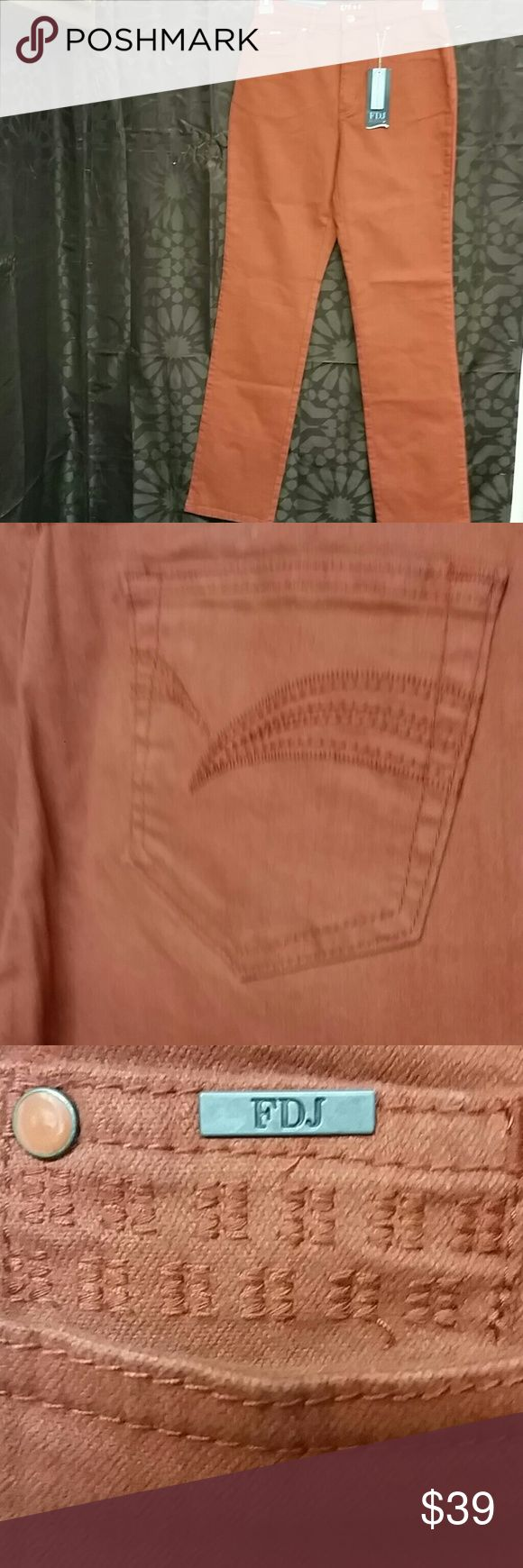 NWT FDJ Jeans Suzanne style size 8 These are new with tags French Dressing Jeans size 8 Suzanne Style color is pumpkin straight leg material is 96% cotton and 4% Lycra measurements laying flat or waist 14 and a half inches length 43 inches French Dressing Jeans  Jeans