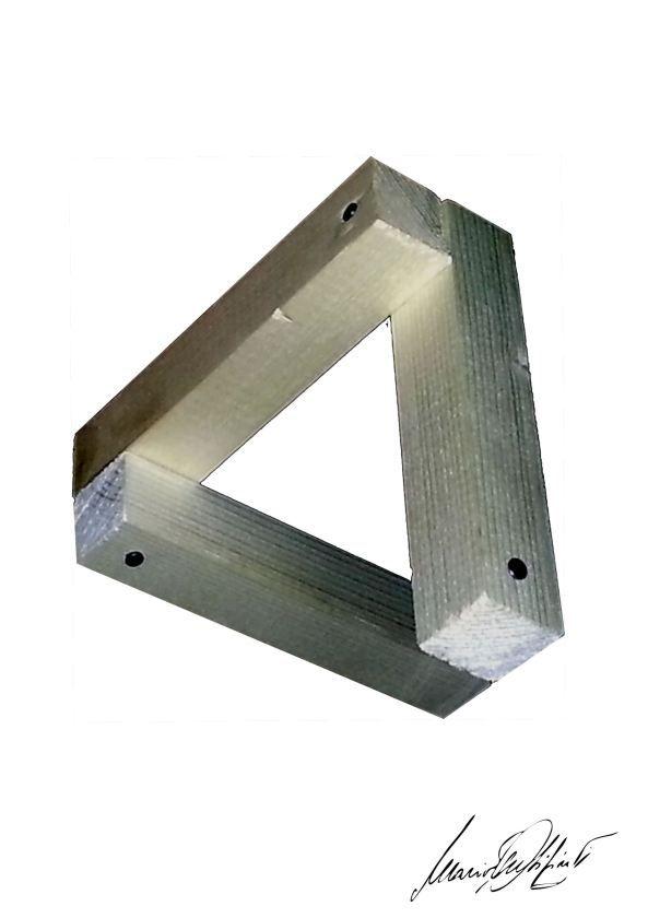 Il triangolo di Penrose o triangolo impossibile, triangolo legno illusion