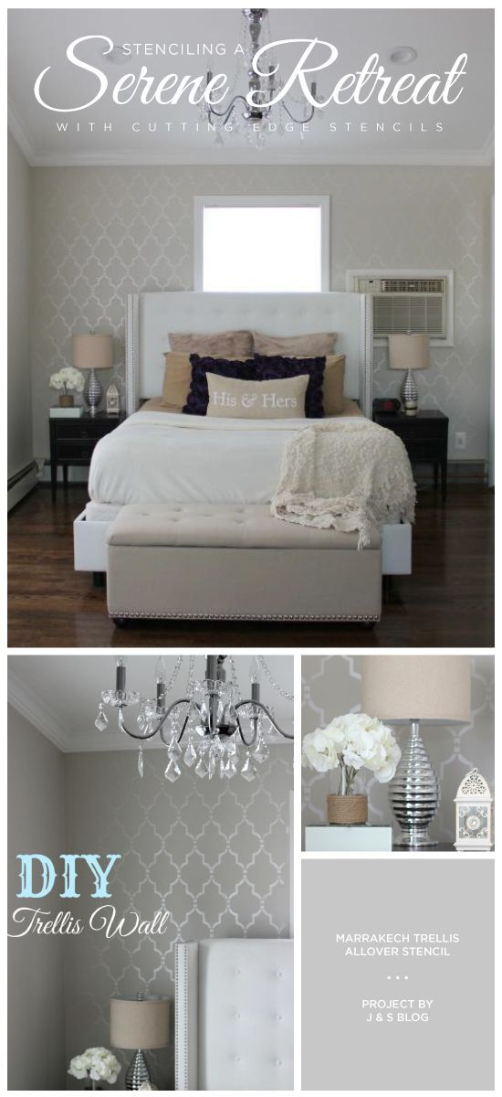 stenciling a serene retreat color me metallic accent. Black Bedroom Furniture Sets. Home Design Ideas