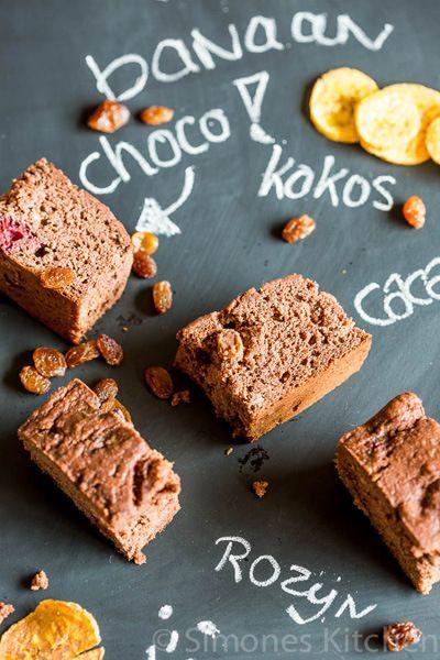 Glutenvrij, zuivelvrij en suikervrij chocolade bananenbrood