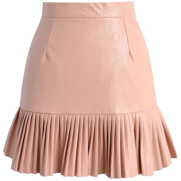 Chicwish Stay Trendy Faux Leather Skirt in Pink ($42) ❤ liked on Polyvore featuring skirts, pink, red pleated skirt, textured skirt, vegan leather skirt, knee length pleated skirt and fake leather skirt