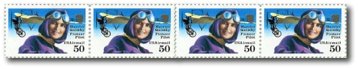Harriet Quimby postage stamps - First female pilot to fly across the English Channel.