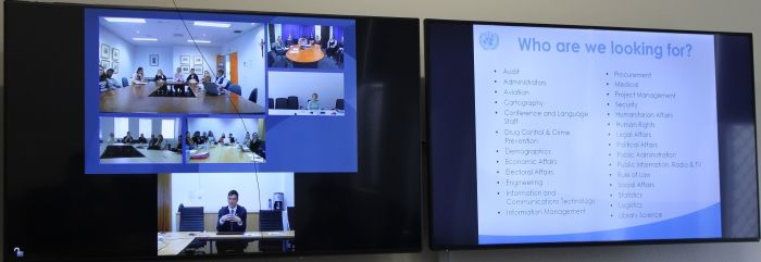 On 9 August 2016 UNIC Canberra spoke to the Australian Catholic University students across its six campuses via a video conference. Students from Canberra, Sydney, Melbourne, Brisbane, and Ballarat had the opportunity to learn about the different career avenues with the United Nations. To learn more about career opportunities with the United Nations visit http://un.org.au/careers/ @unitednations