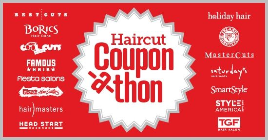 Now until 9/30, stop by any Best Cuts, BoRics, Cool Cuts 4 Kids*, Famous Hair, Fiesta Salons, First Choice Haircutters*, Head Start Salons, HairMasters, Holiday Hair, Island Haircutting Co., MasterCuts, Saturday's, SmartStyle, Style America, or TGF Hair Salonlocations throughout the U.S., Canada, or Puerto Rico and save big on haircuts with our Coupon-a-thon – valid at over 4,500 salons! This offer is perfect for the whole family, with haircuts for $7.99 or $9.99.