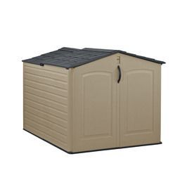Rubbermaid 55-in x 76-in x 52-in Faint Maple/Onyx Resin Outdoor Storage Shed.   this matches one I got from Jesica.