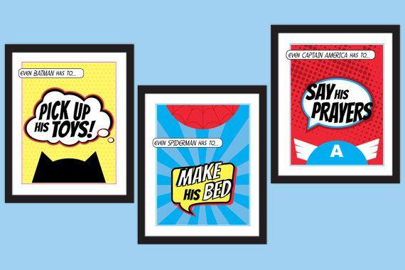 Superhero Children's Bedroom Rules Art Prints - Set of 3 - Kid's DIY Printable Instant Download on Etsy, $15.00