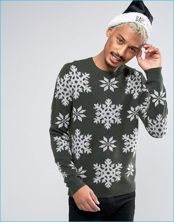 ASOS Men's Christmas Snowflakes Sweater