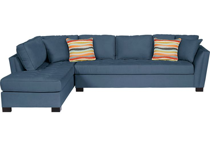Cindy Crawford Home Calvin Heights XL Indigo 2 Pc Sectional  .1488.0. 129W x 90.5D x 35.5H. Find affordable Sectional Living Rooms for your home that will complement the rest of your furniture.  #iSofa #roomstogo
