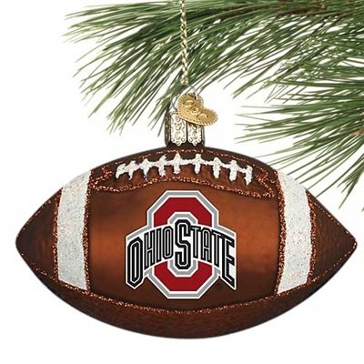 Ohio State Buckeyes Glass Football Ornament! Check out all of the Buckeyes Holiday decor here: http://pin.fanatics.com/COLLEGE_Ohio_State_Buckeyes_Accessories_Holiday_Items/source/pin-ohio-state-holiday-decor-sclmp
