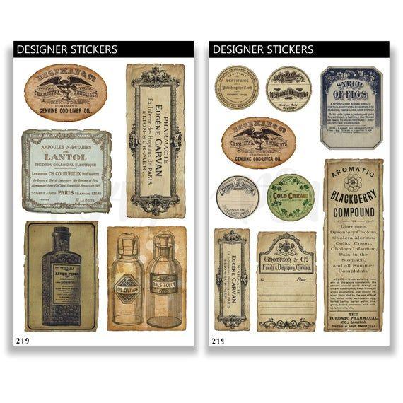Vintage Washi Sticker Ephemera Pack by CATaireen Bullent Journal Ideas Retro Instrument Meter Round Stamps Scrapbooking Supplies Notebook Decoupage 69PCS