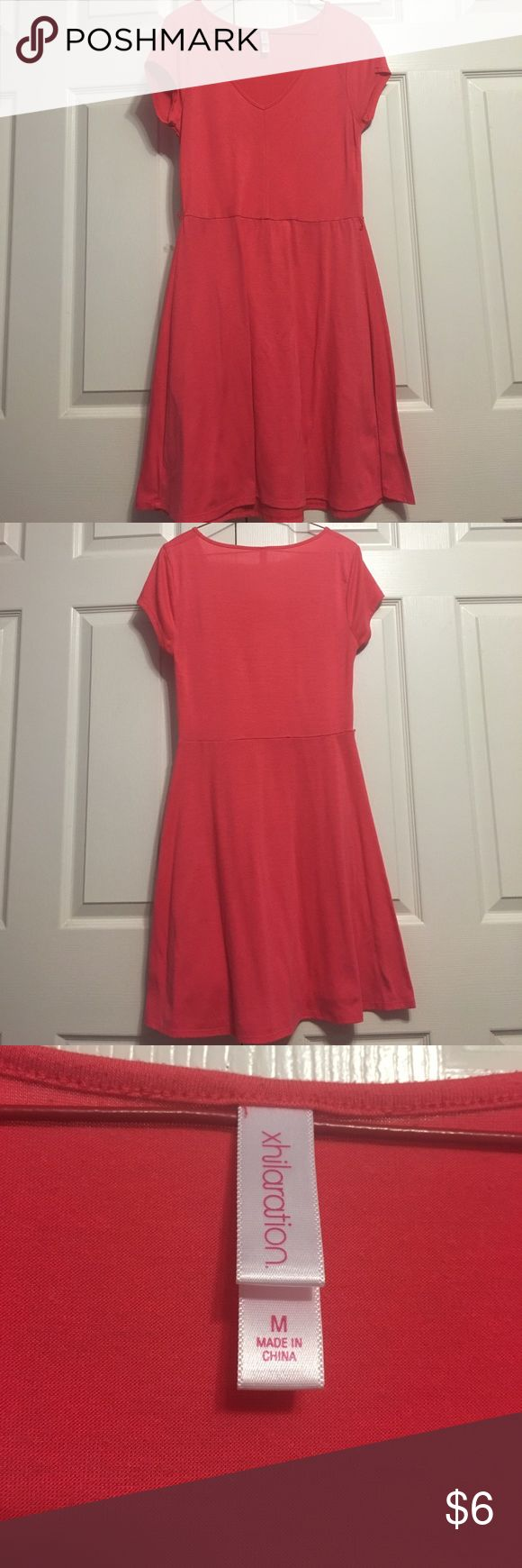 Coral Summer Dress Coral V-neck short sleeve dress. There are loops for a small belt shown in picture but does not come with belt.   Lightly worn! Xhilaration Dresses Midi