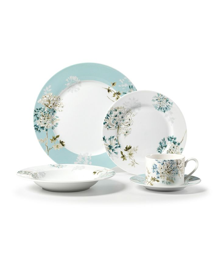 white and blue floral dandelion dinner ware set